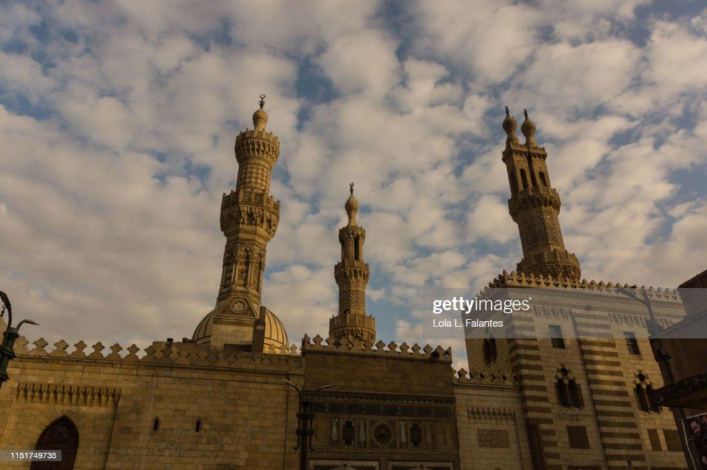 Three minarets of Al-Azar mosque, Cairo : Foto de stock