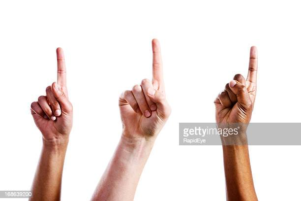 Three mixed female hands point upwards confidently