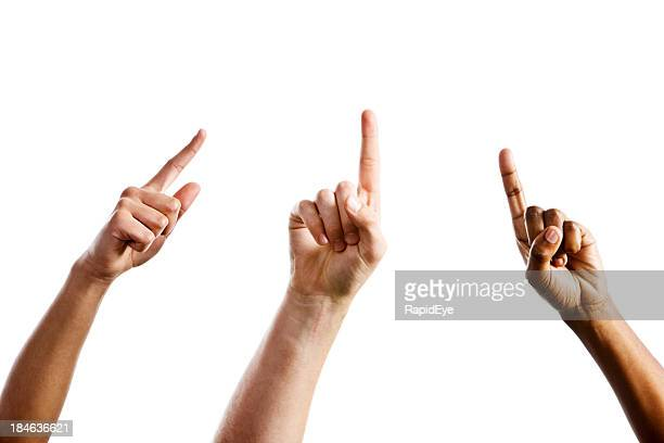 three mixed hands point upward towards same unseen object - pointing stock pictures, royalty-free photos & images