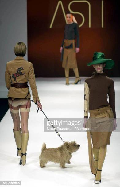 Three models and a dog parade the catwalk wearing designs by Scott Henshall during London Fashion Week