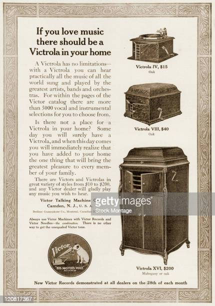 Three models of Victrola phonographs are shown in a magazine advertisement from 1914 The phonographs range from the Victrola IV table top model...