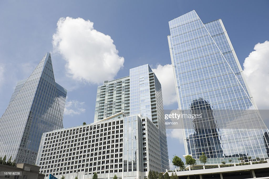 Three modern buildings in different shapes in Atlanta : Stock Photo