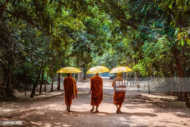three monks with umbrella walking to the old ruins of angkor - monk stock pictures, royalty-free photos & images