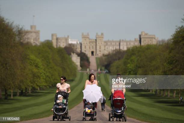 Three mothers push prams down the Long Walk on April 7, 2011 in Windsor, England. Much of Britain continues to enjoy unseasonably warm weather,...