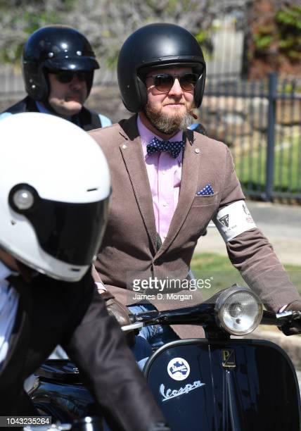Three motorcyclists wait in traffic during a charity ride on September 30 2018 in Sydney Australia The Distinguished Gentleman's Ride is an annual...