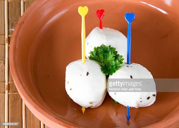Three Mozzarella Cheese Balls With Plastic Skewers