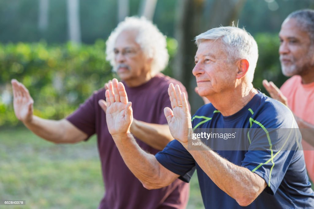 Three multi-ethnic senior men in park practicing tai chi : Stock Photo