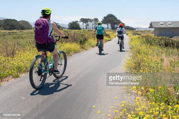 three multi-ethnic women biking through summer wildflower meadows, california, usa - san mateo county stock pictures, royalty-free photos & images
