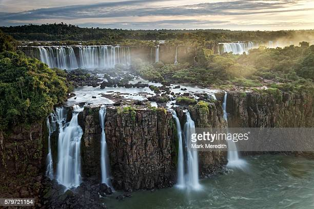 Three Musketeers Falls at Iguazu Falls, and the Rivadavia Falls on the Argentine side at the back