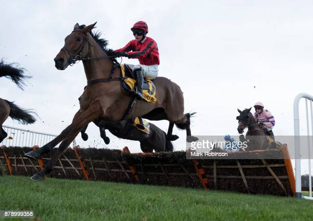 Three Musketeers ridden by Bridget Andrews jumps a fence to during the Betfair Stayers' Handicap Hurdle on November 25 2017 in Haydock England