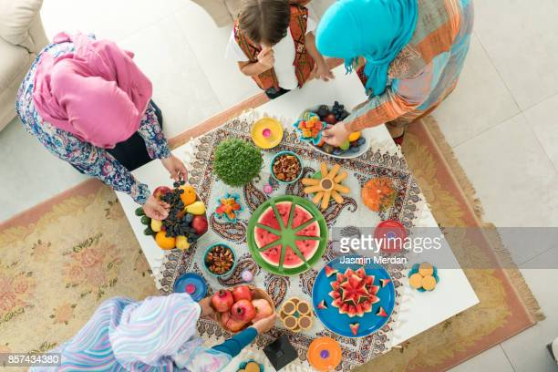 three muslim women top view - iranian culture stock photos and pictures