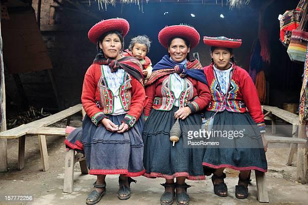 Three native women from Chinchero, Peru