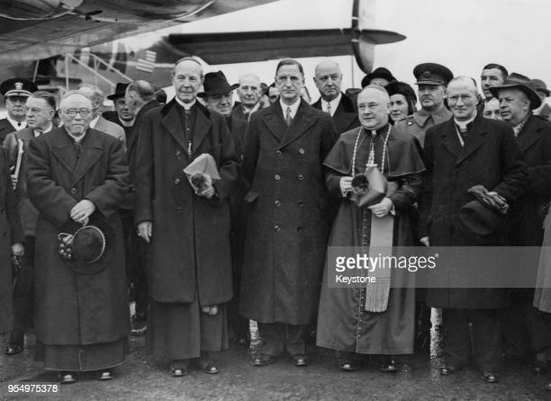 Three new cardinals designate arrive at Shannon Airport in Limerick Ireland from America en route to Rome for the papal consistory 12th February 1946...