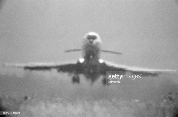 Three of Four A Trident jet at Heathrow Airport takes off in the high heat of 25th June 1976 when temperatures reached into the 90 degrees The heat...