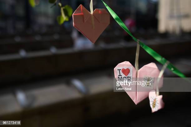 Three of the 27000 handmade hearts that have been donated to Beth Clarke's #aheart4mcr Twitter campaign are seen on the morning of the first...