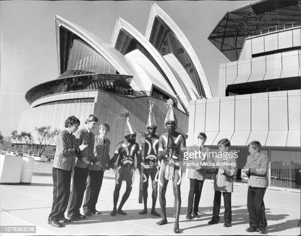 Three of the aboriginal dancers Steven Williams John Wally and Henry Peters with boys from The King's School Parramatta David Powell if Killara...