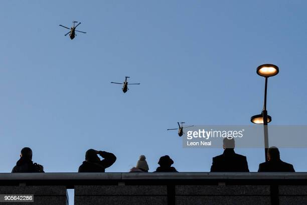 Three of the Army Air Corps' last remaining Lynx Mk9 helicopters from 657 Squadron fly over central London on January 16 2018 in London England The...