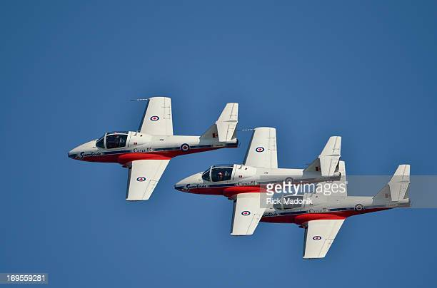Three of the famed Canadian Snowbirds fly in a stacked formation. The 63rd annual Canadian International Air Show, a featured act of the annual CNE,...