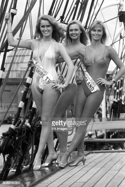 Three of the finalists for the Miss UK 1982 beauty contest left to right Louise Gray Miss Yorkshire TV Ann Jackson Miss Chichester and Della Dolan...