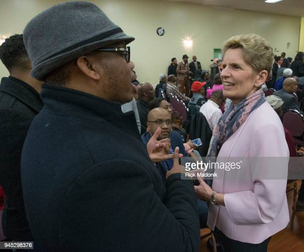 Three of the four party leaders in Ontario attend a debate at the Canadian Jamaican Association Centre From left Liberal Kathleen Wynne Green Leader...
