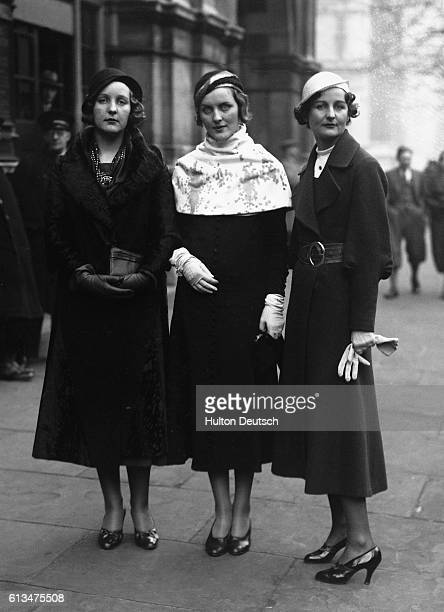 Three of the Mitford sisters as guests at the wedding of Lord Stanley of Aldernay and Lady Audrey Talbot in 1932. English Nazi sympathizer Unity...