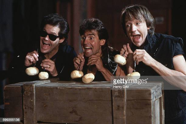 Three of The Monkees Micky Dolenz Davy Jones and Peter Tork film a video for Every Step of the Way which appears on their 1986 reunion album Pool It...