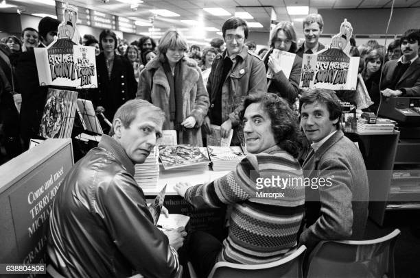 Three of the Monty Python comedy team Graham Chapman Terry Jones and Michael Palin were in WHSmith's at Holborn Circus signing copies of some of...