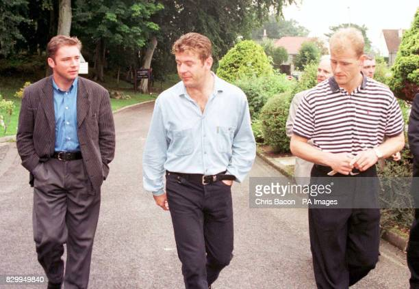 Three of the Scotland squad Ally McCoist Andy Goram and Gordon Durie in Aberdeen today before their the World Cup Qualifing match against Balarus on...
