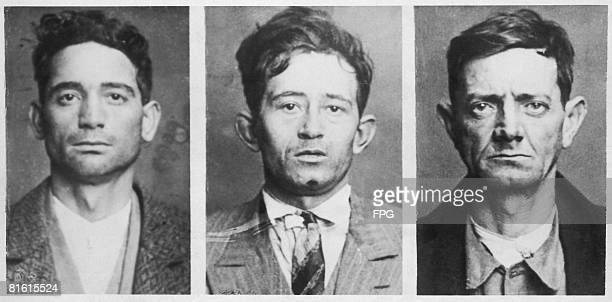 Three of the thirteen bank robbers arrested in Marseilles and charged with the murder of bank teller Lourdier circa 1930 From left to right they are...