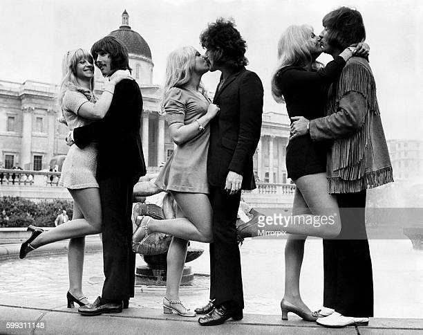 Three of the Tremeloes pop group who are to be married L/r Carol Dilworth with bass guitarist Chip Hawkes Lyn Stevens with Alan Blakley and Dave...