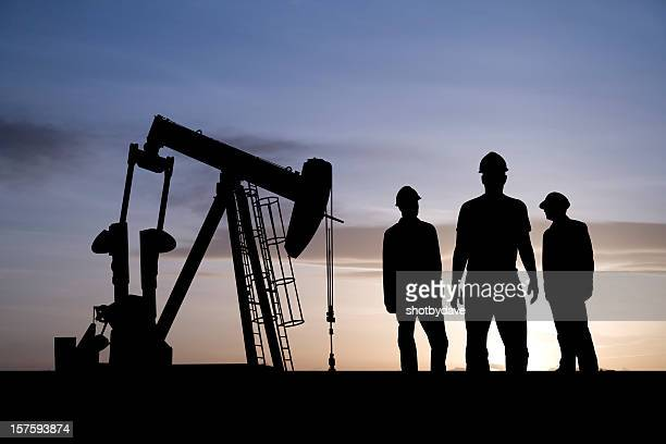 Three Oil Workers and an Pumpjack