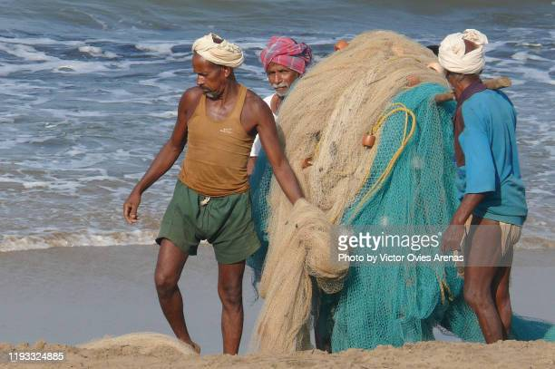 three old local fishermen carrying their fishing nets on the beach in gokarna, karnataka, india - victor ovies fotografías e imágenes de stock