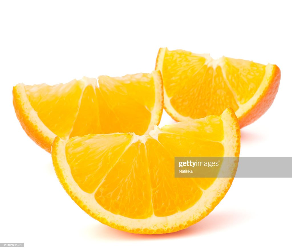 Três segmentos de fruta laranja ou cantles : Foto de stock