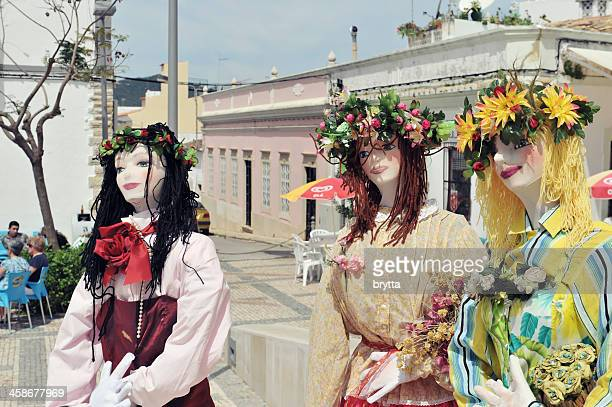three ornate female rag dolls - faro city portugal stock photos and pictures