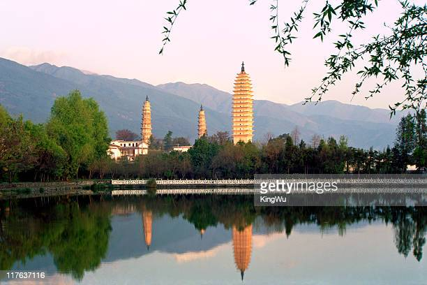 three pagodas - yunnan province stock pictures, royalty-free photos & images