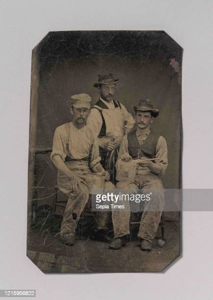 Three Painters with Brushes and Paint Cans, 1870s-80s, Tintype, Image: 9 x 5.6 cm , Photographs, Unknown .