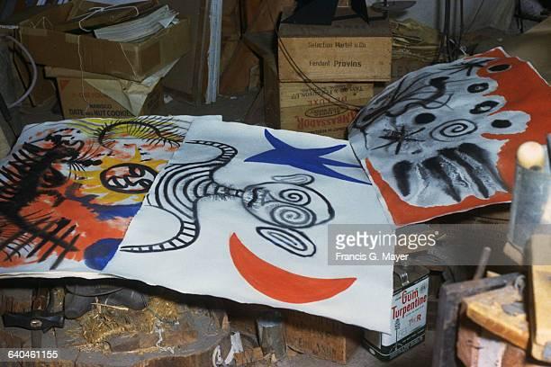 Three Paintings by Alexander Calder in the Artist's Studio