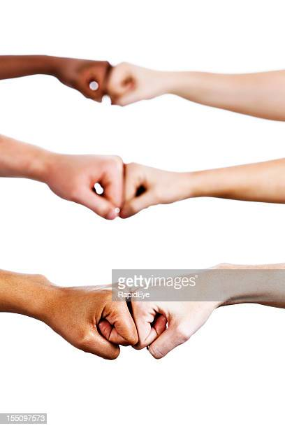 three pairs of hands bump fists in agreement or greeting - fist bump stock pictures, royalty-free photos & images