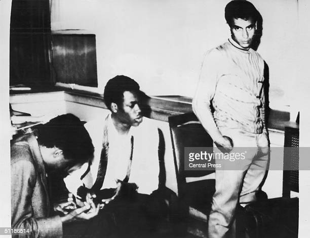 Three Palestinians responsible for blowing up a PanAm Boeing 747 at Cairo Airport following their arrest by Cairo police 8th September 1970 They...