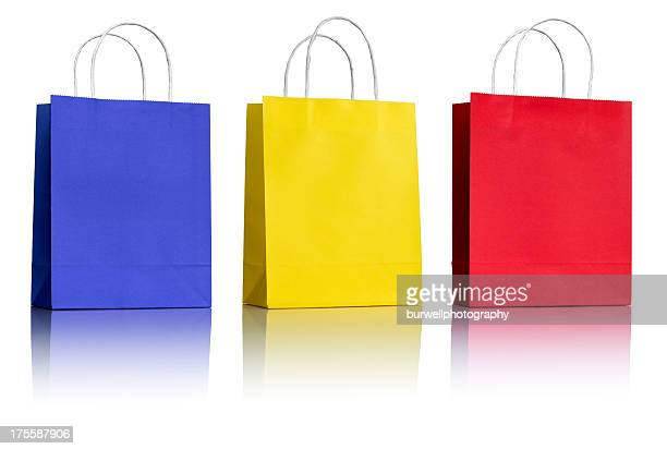 Three Paper Shopping Bags on white