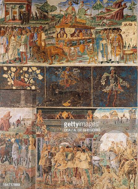 Three parallel registers of Month of July ca 1470 fresco north wall Hall of the Months Palazzo Schifanoia Ferrara EmiliaRomagna Italy 15th century