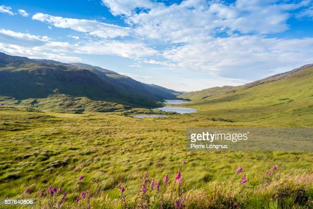 Three paternoster lakes connected by streams : Loch an Eilein, Loch Ellen and Loch Àirde Glais on the Isle of Mull, Inner Hebrides Scotland.