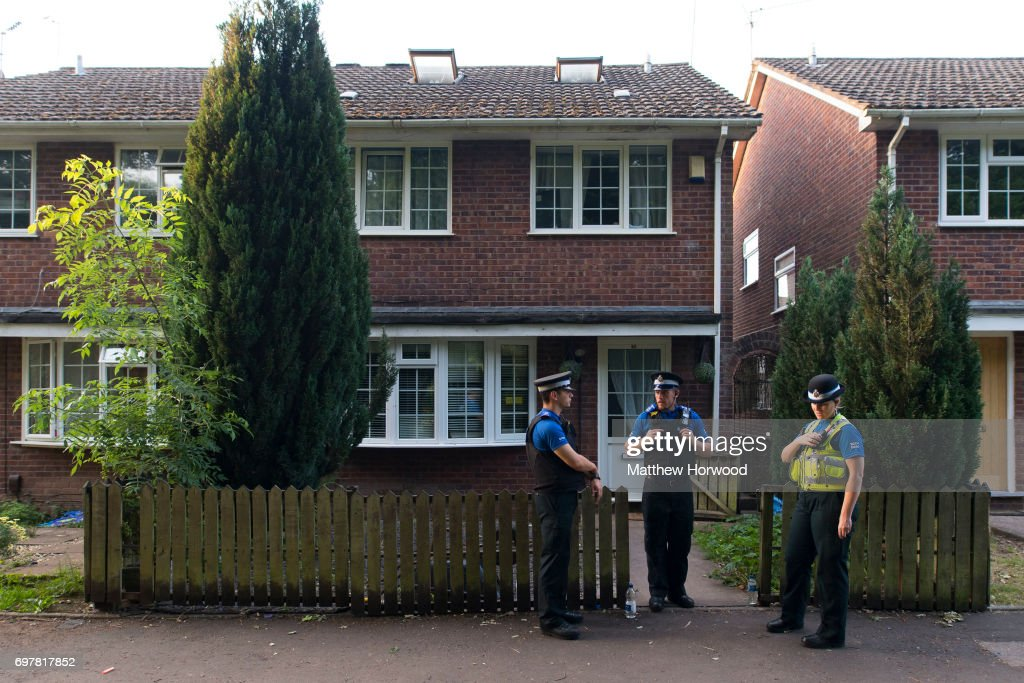 Three PCSOs stand outside a house on Glyn Rhosyn, Pentwyn, which is believed to be the home of Darren Osborne, who has been named as the man responsible for the Finsbury Park Mosque attack, on June 19, 2017 in Pontyclun, Wales. A van ploughed into pedestrians near Finsbury Park Mosque on Severn Sisters Road, North London, at around 12.20 this morning. Police have reported that one man was killed and nine people were injured. 47-year-old Darren Osborne has been arrested on suspicion of carrying out the attack. Prime Minister Theresa May has said police are treating it as a potential terrorist incident.
