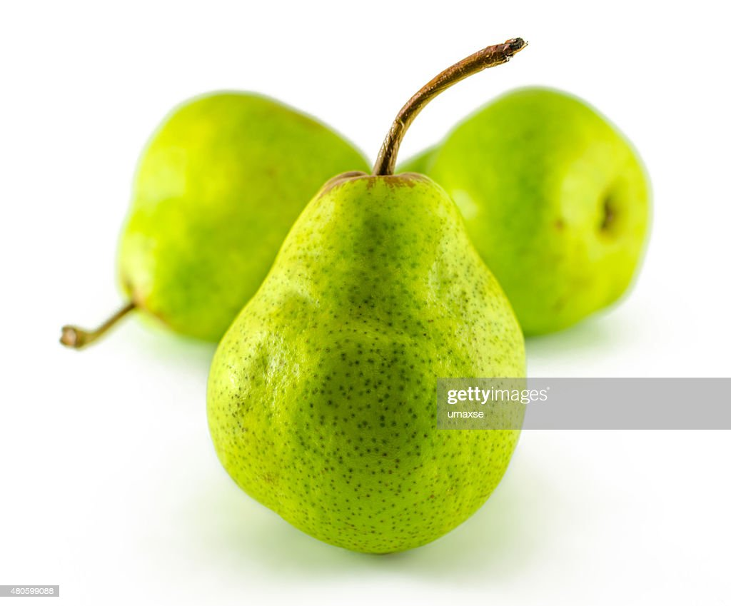 Three pears isolated on white background : Stock Photo