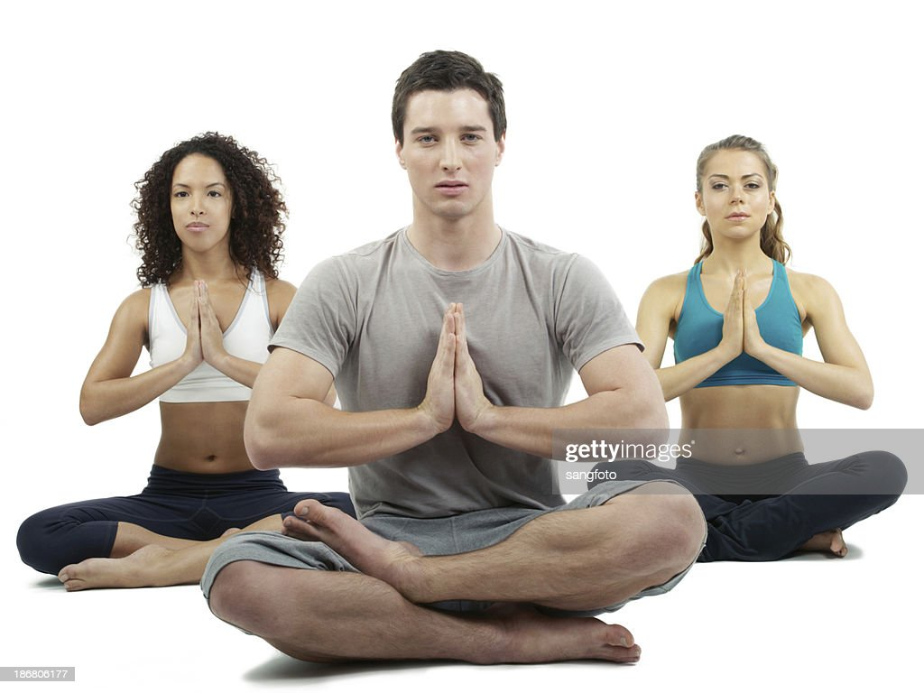 three people doing yoga stock photo getty images