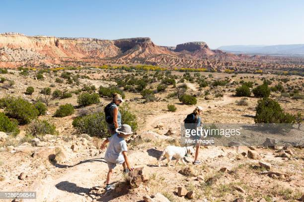 three people, family hiking on a trail through a protected canyon landscape - wildlife reserve stock pictures, royalty-free photos & images