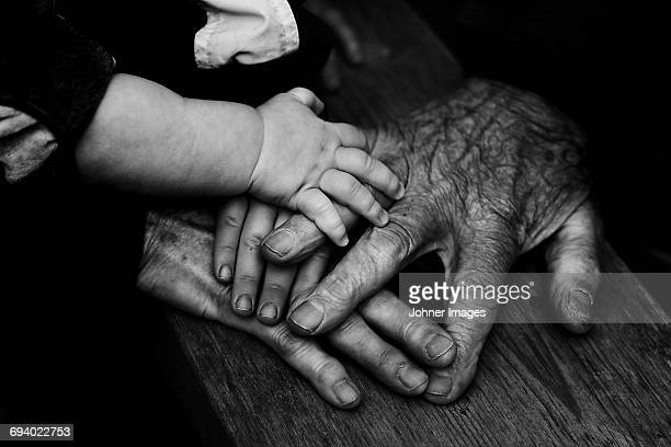 three people holding hands together - multi generation family photos stock pictures, royalty-free photos & images