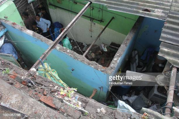 Three people including a threeyearold boy were injured after a wall collapsed on them in Thanes Hajuri Wagle Estate on Tuesday July 17 2018 in Mumbai...
