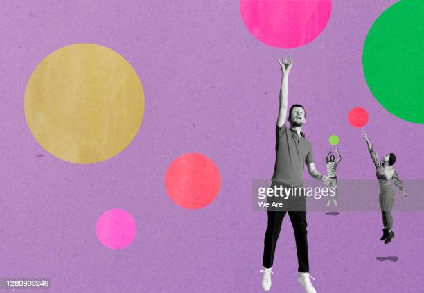 three people jumping for bubbles - ideas stock pictures, royalty-free photos & images