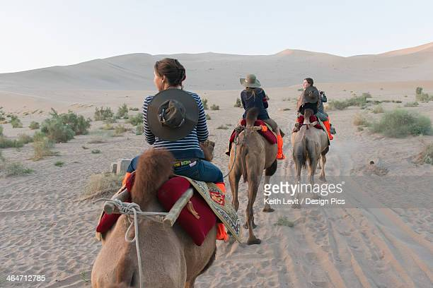 Three People Riding Camels On A Desert Landscape